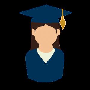 girl in college graduation uniform