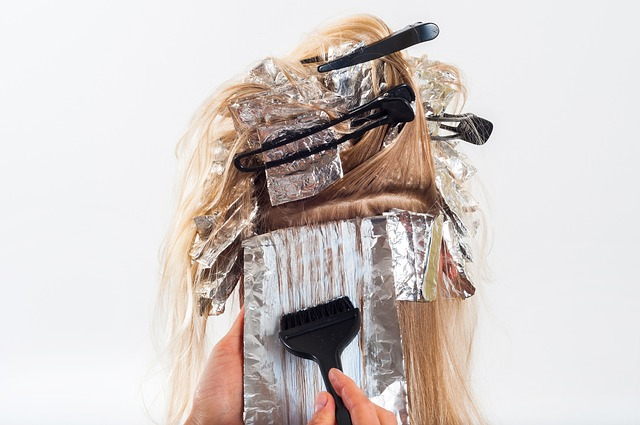 Photograph of hairstylist work in progress