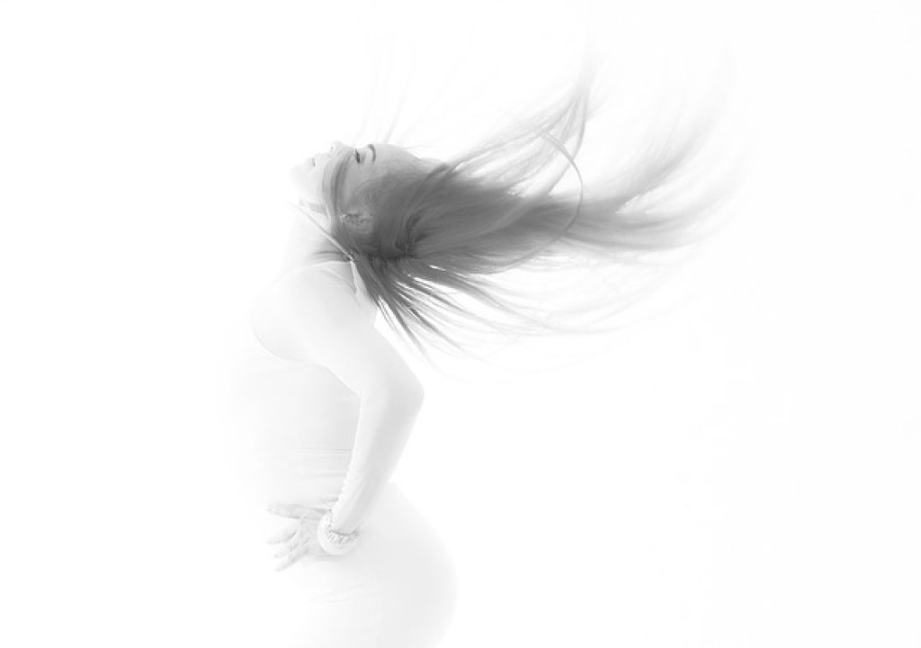 Photo of a model flipping her hair